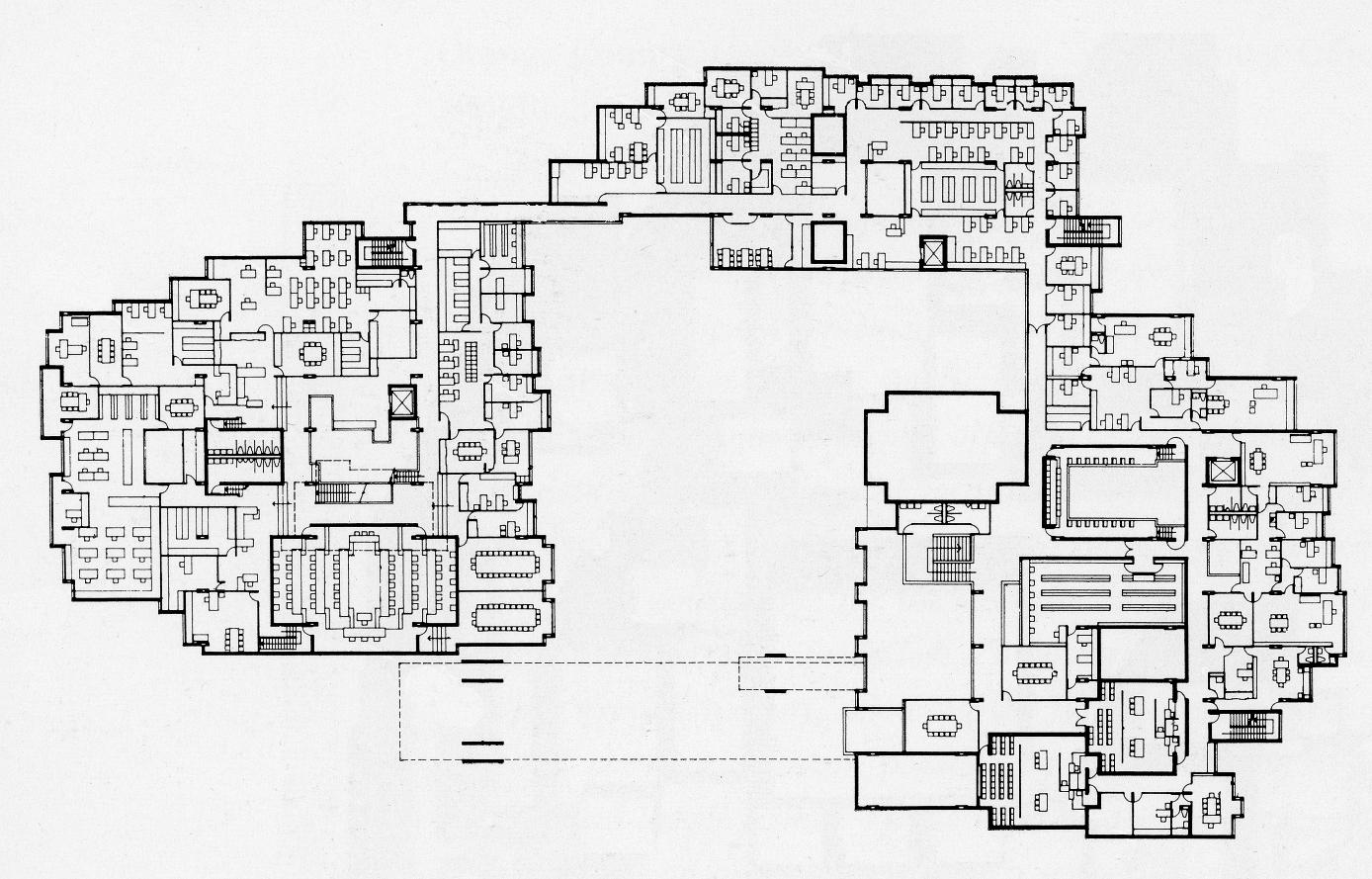Orange County Government Center, Goshen, New York. Second Floor Plan.