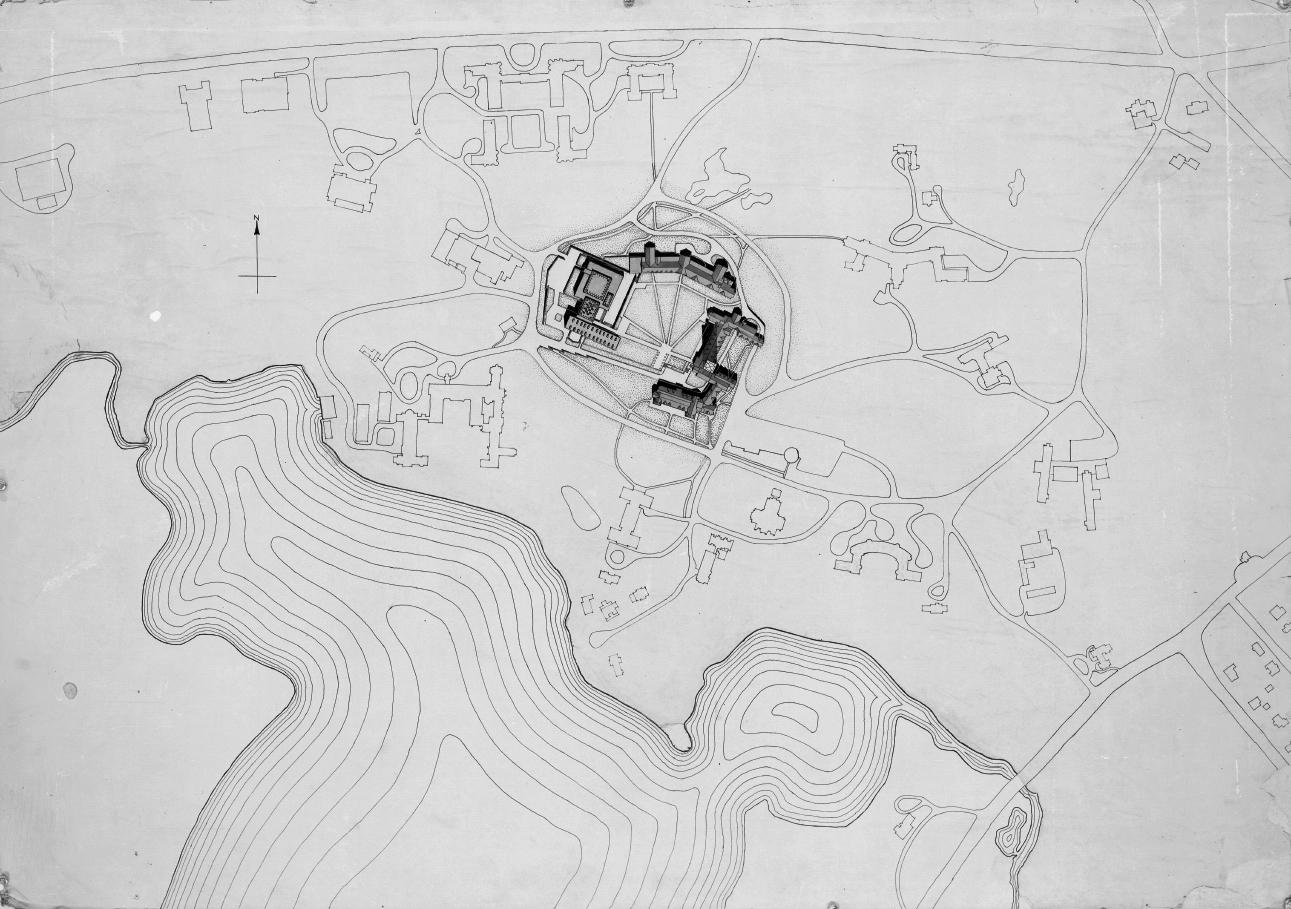 Mary Cooper Jewett Arts Center, Wellesley College, Wellesley, Massachusetts. Rendered Site Plan.