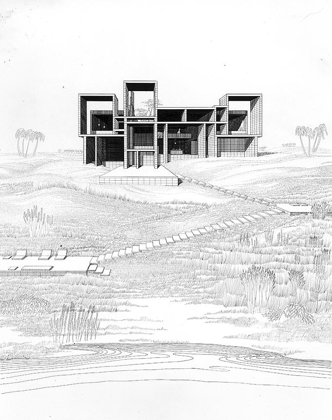 Milam residence, Ponte Vedra Beach, Florida. Perspective Rendering. 1959.