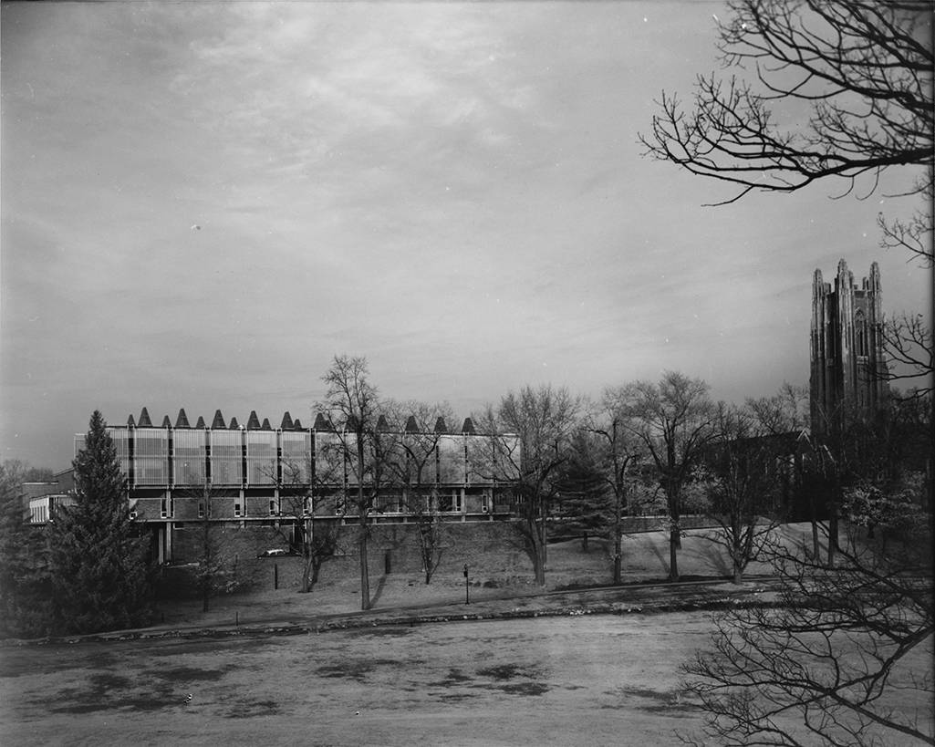 Mary Cooper Jewett Arts Center, Wellesley College, Wellesley, Massachusetts. Building Exterior.  Photo taken in 1961.