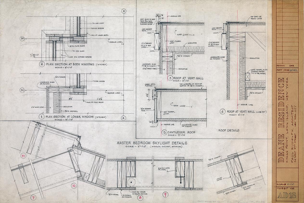 Deane residence, Great Neck, New York. Master Bedroom Skylight Details, Sheet AD-18.