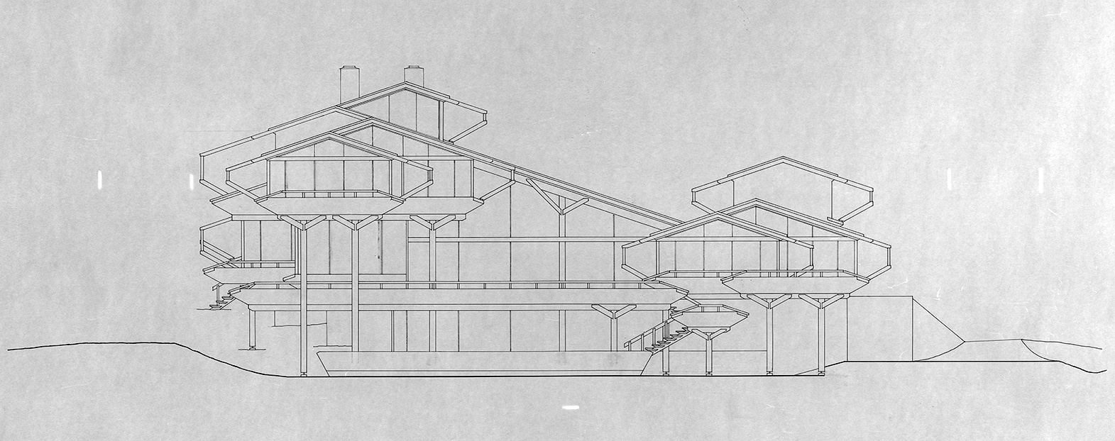 Deane residence, Great Neck, New York. Building Elevation. Circa 1971.