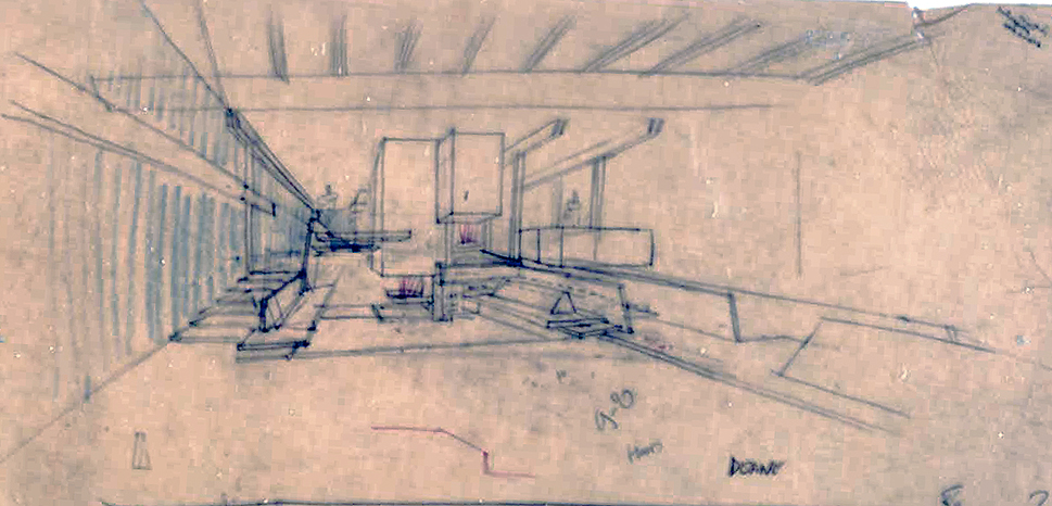 Deane residence, Great Neck, New York. Interior Perspective Sketch.