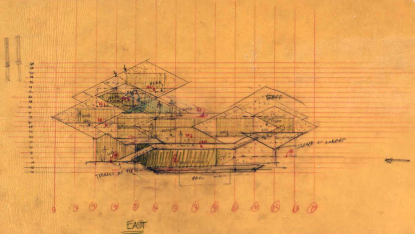 Deane residence, Great Neck, New York. Elevation Sketch.