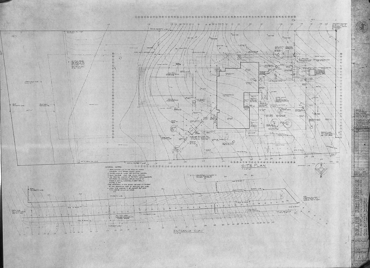 Deane residence, Great Neck, New York. Site Plan, Sheet A-1.