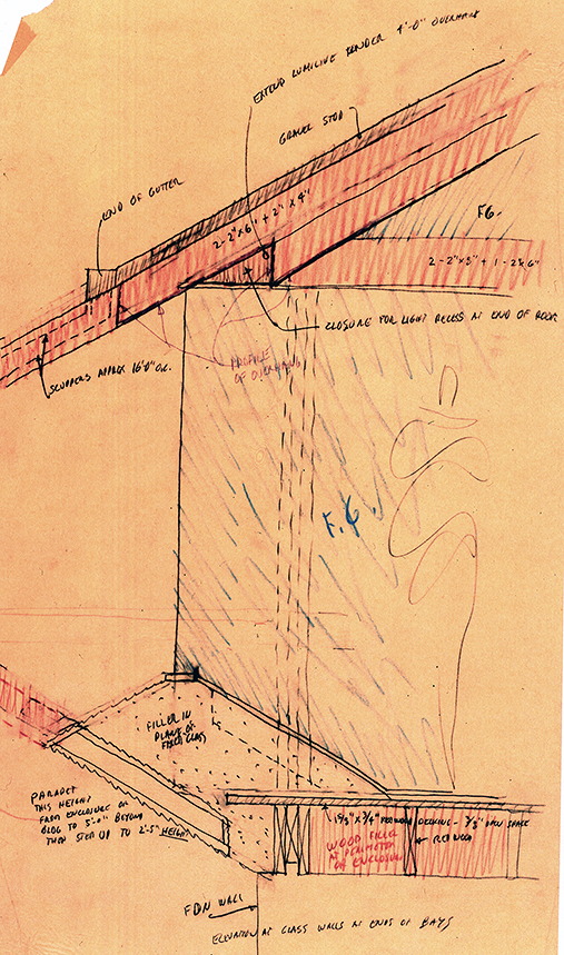 Deane residence, Great Neck, New York. Section Sketch.