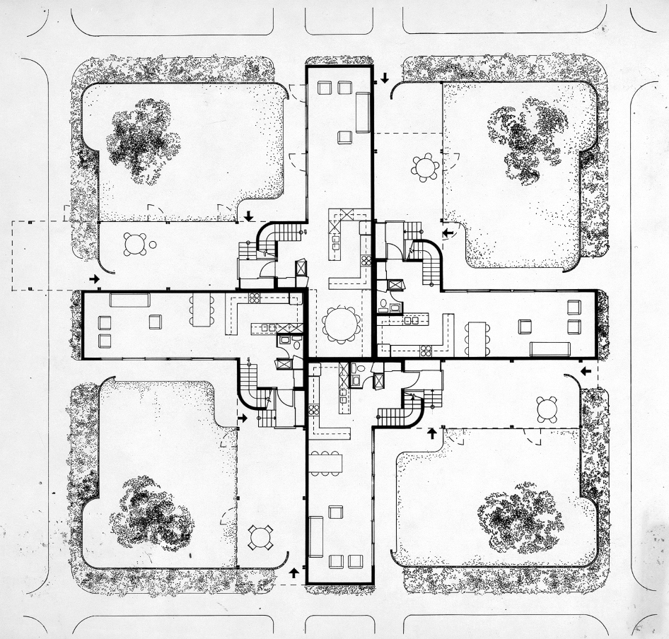 Oriental Masonic Gardens, Wilmot Road, New Haven, Connecticut. Floor Plan. 1968.