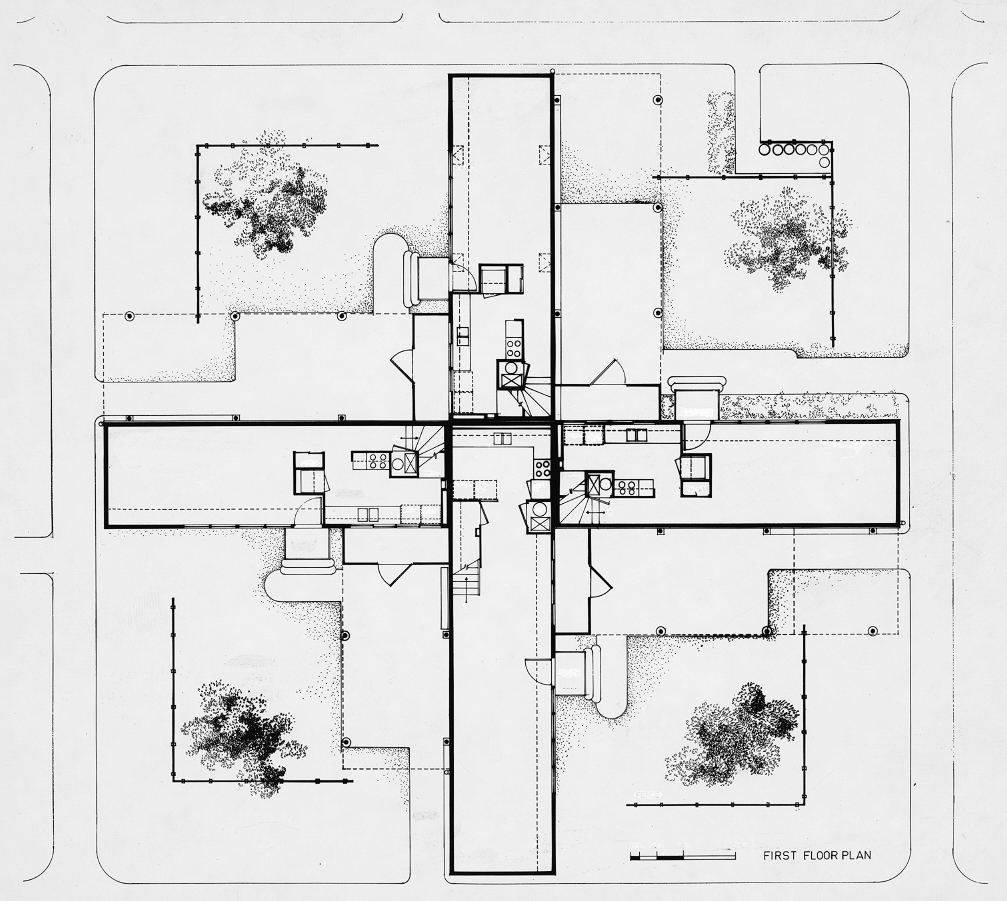 Oriental Masonic Gardens, Wilmot Road, New Haven, Connecticut. Final Scheme. First Floor Plan.