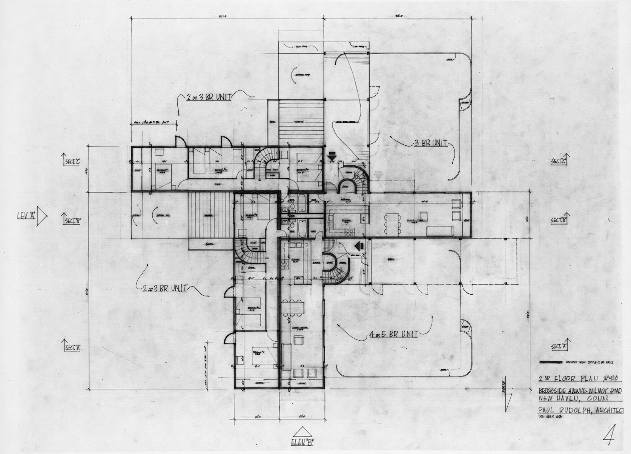 Oriental Masonic Gardens, Wilmot Road, New Haven, Connecticut. First Scheme. Second Floor Plan.