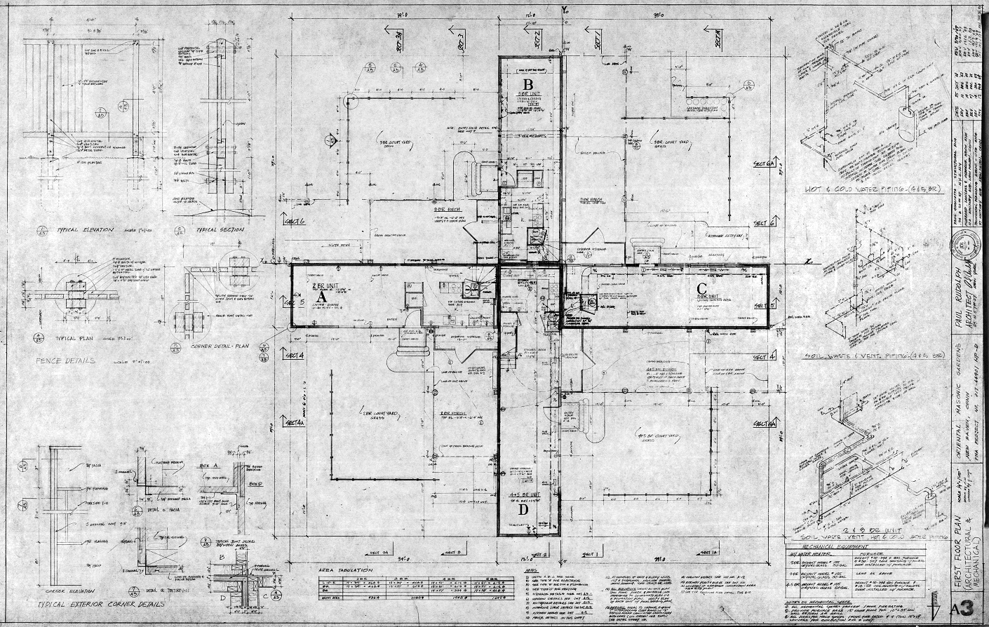 Oriental Masonic Gardens, Wilmot Road, New Haven, Connecticut. First Floor Plan (Arch & Mech), Sheet A-3