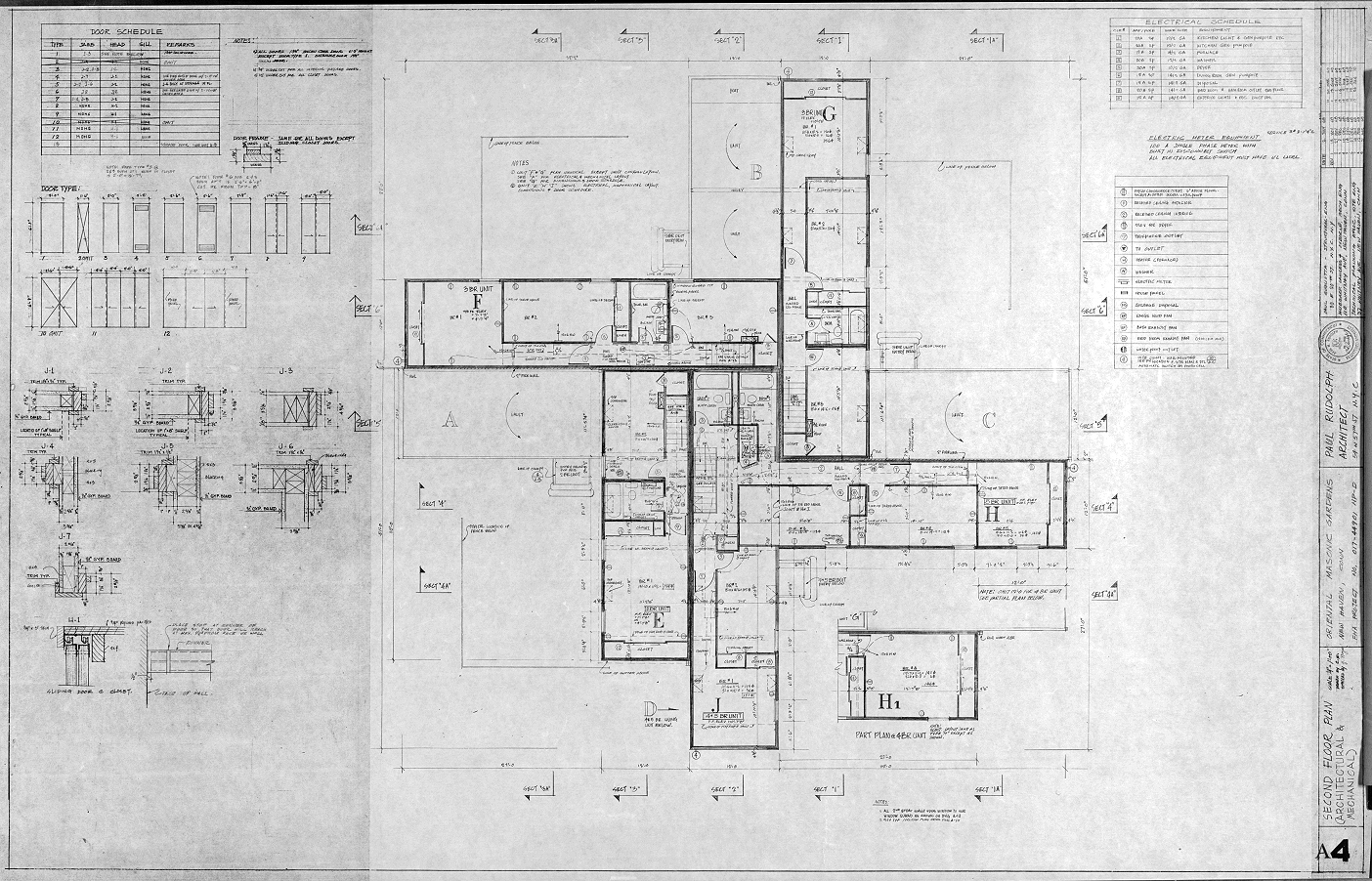 Oriental Masonic Gardens, Wilmot Road, New Haven, Connecticut. Second Floor Plan (Arch & Mech), Sheet A-4