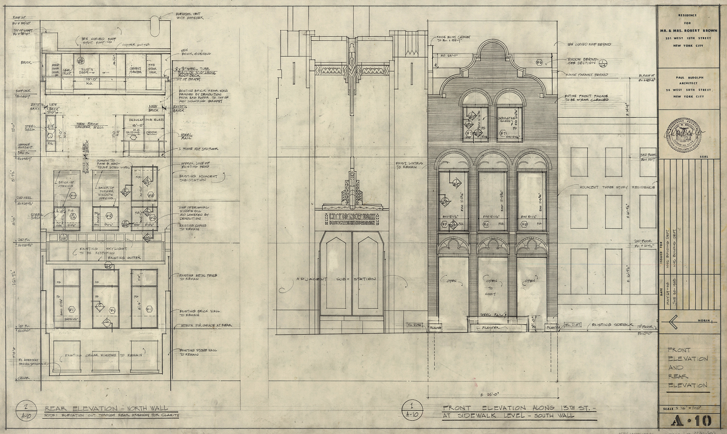 Robert Brown residence, New York City. Front Elevation and Rear Elevation, Sheet A-10.