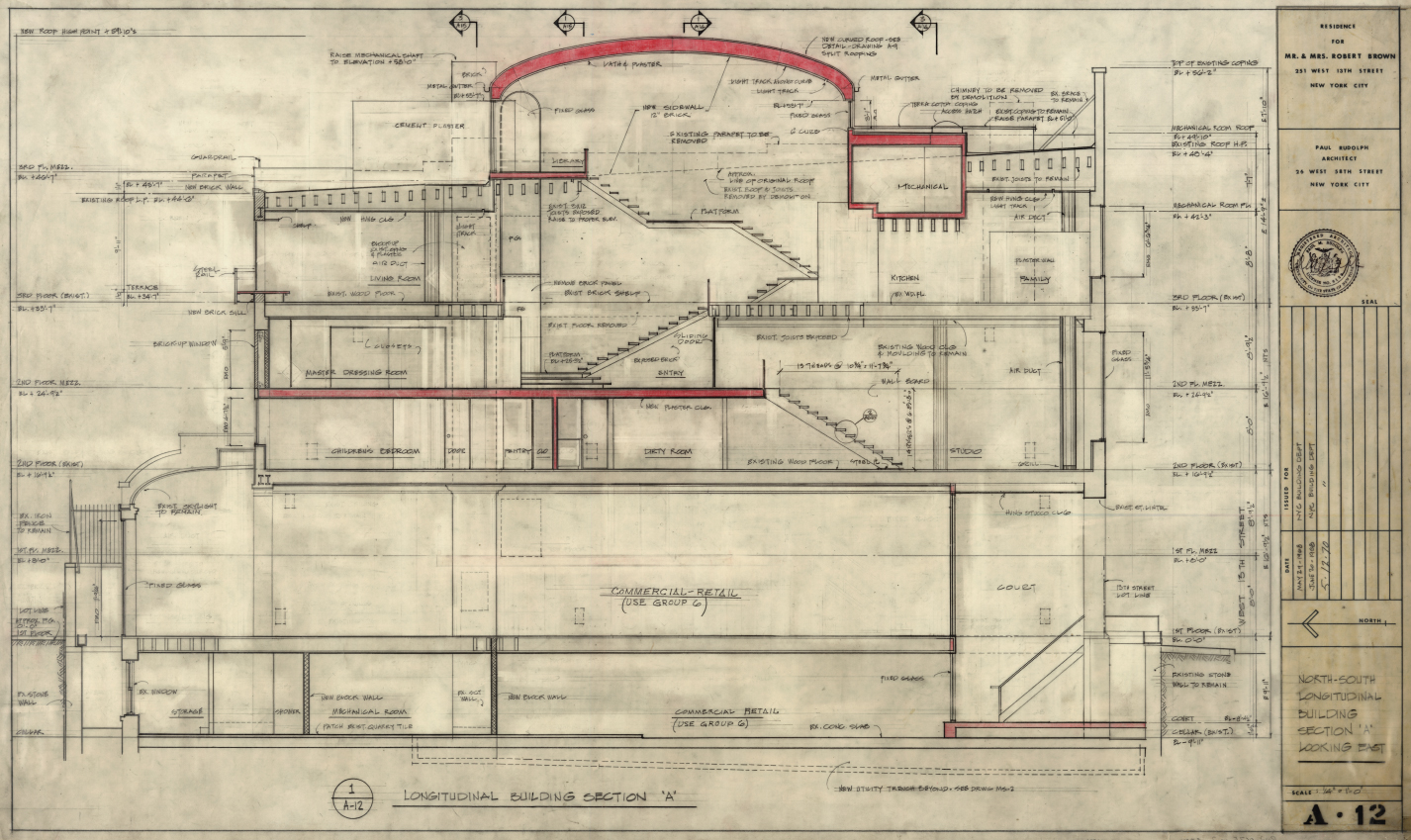 Robert Brown residence, New York City. North-South Longitudinal Building Section 'A' Looking East, Sheet A-12.