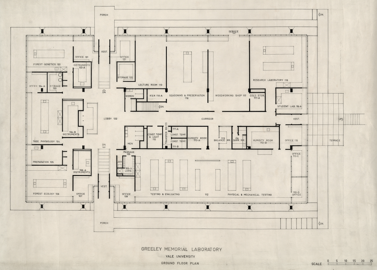 Greeley Memorial Laboratory, Yale University, New Haven, Connecticut. Ground Floor Plan.