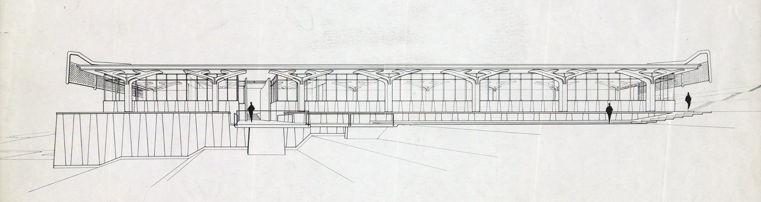 Greeley Memorial Laboratory, Yale University, New Haven, Connecticut. Exterior Perspective Rendering.