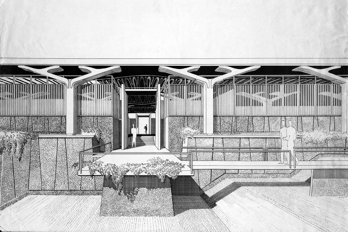 Greeley Memorial Laboratory, Yale University, New Haven, Connecticut. Entrance Perspective Rendering. 1958.
