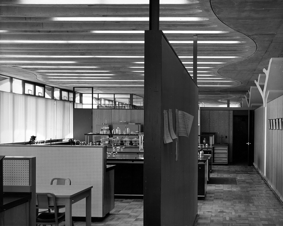 Greeley Memorial Laboratory, Yale University, New Haven, Connecticut.  Building Interior. Photo taken in 1957.