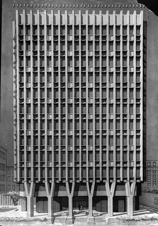 Blue Cross-Blue Shield Headquarters, Boston, Massachusetts.  Rendered Elevation of Early Scheme.