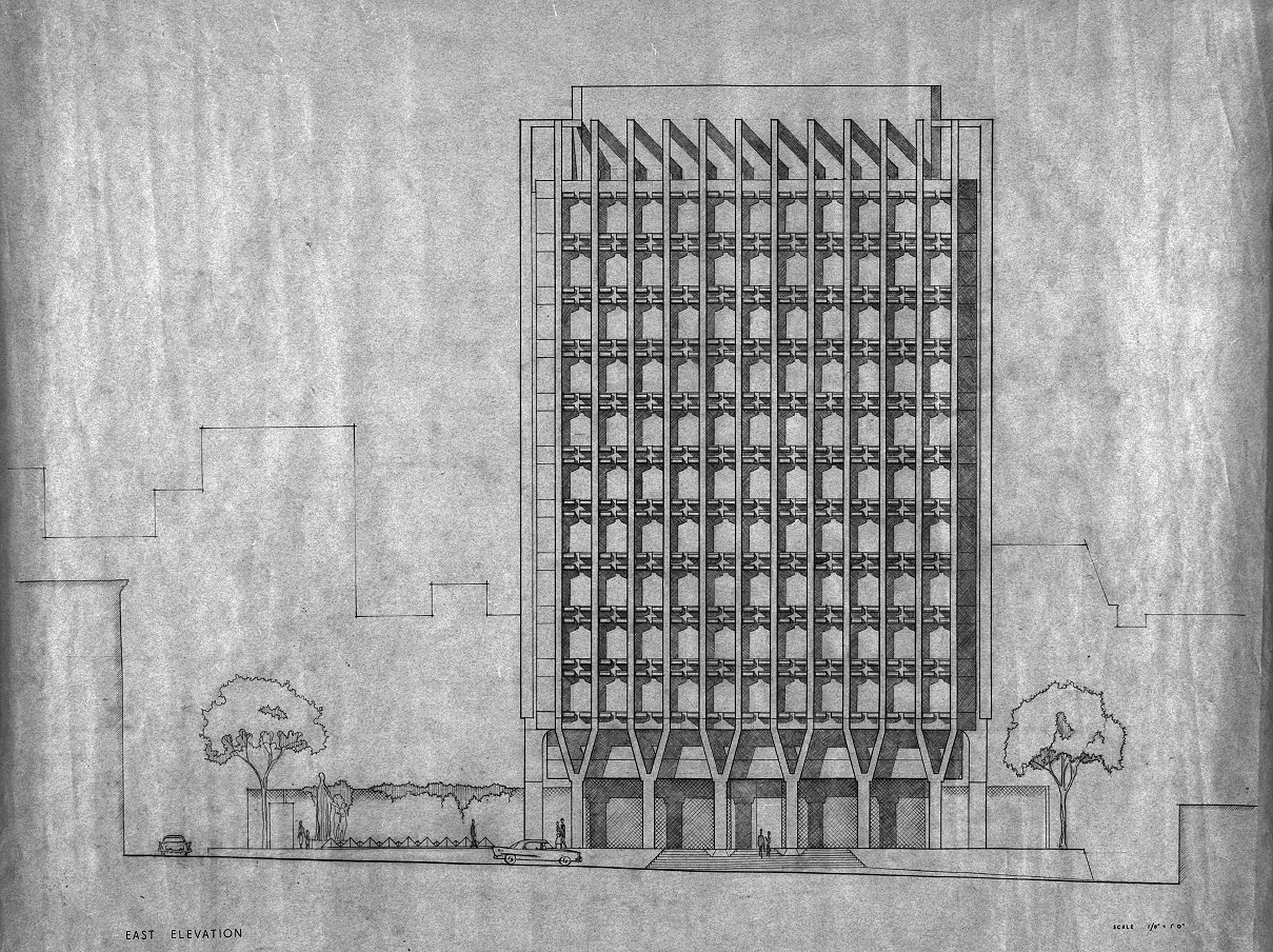 Blue Cross-Blue Shield Headquarters, Boston, Massachusetts. Early Scheme Elevation.
