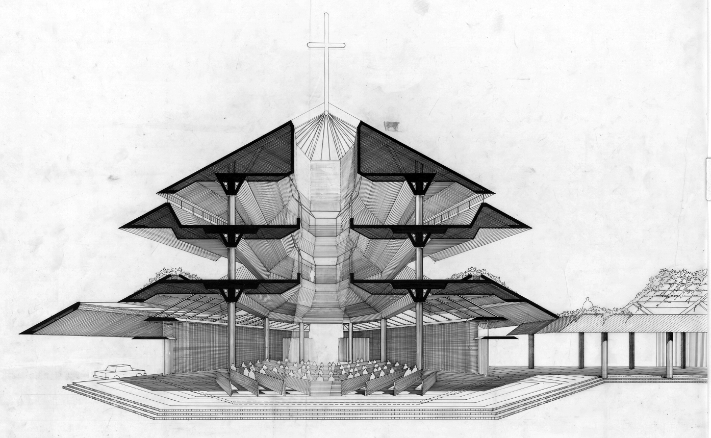 Maris Stella University chapel, Singapore. Perspective Section Rendering.