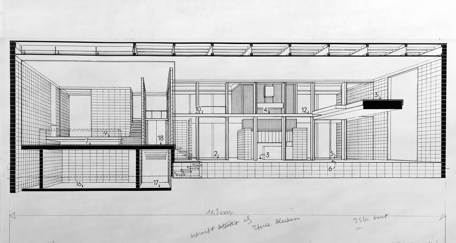Deering residence, Casey Key, Florida. Section Perspective Rendering.