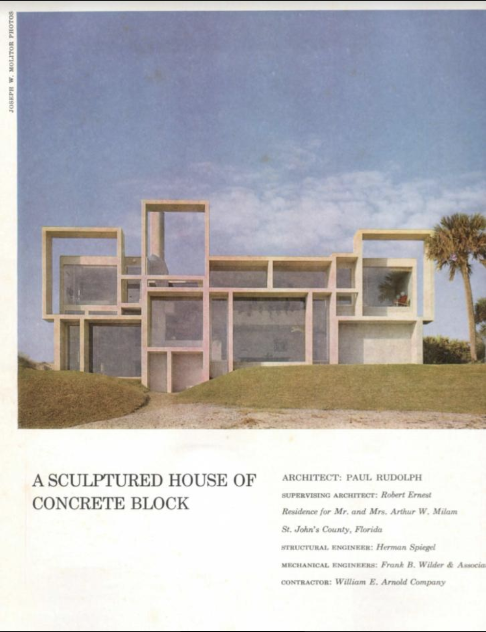 Architectural Record  included the house in it's 1963 Record Houses issue. This is the opening page of the article about the house---and the layout featured a photo by Ezra Stoller.  Image courtesy of: US Modernist Library of 20th century architectural journals.