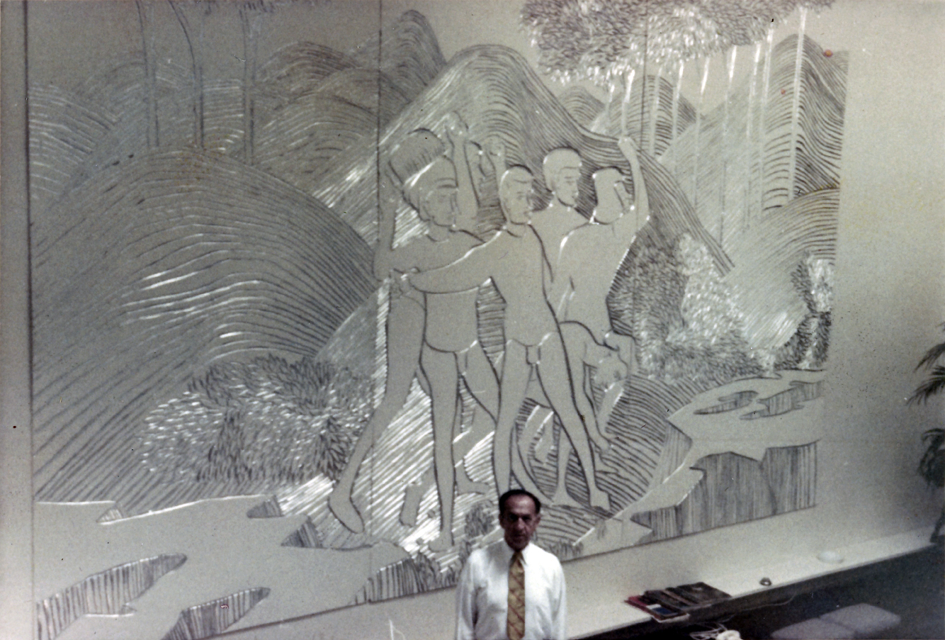 Hirsch townhouse, New York City. Photo of Interior showing Alexander Hirsch standing before the mural in his townhouse.