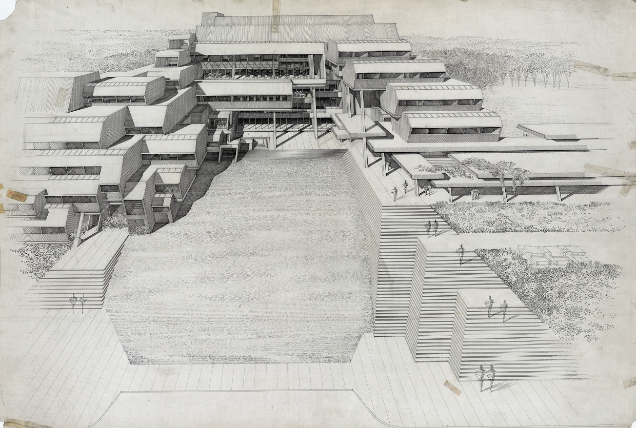 Burroughs Wellcome Company, Research Triangle Park, North Carolina. Aerial Perspective Rendering.