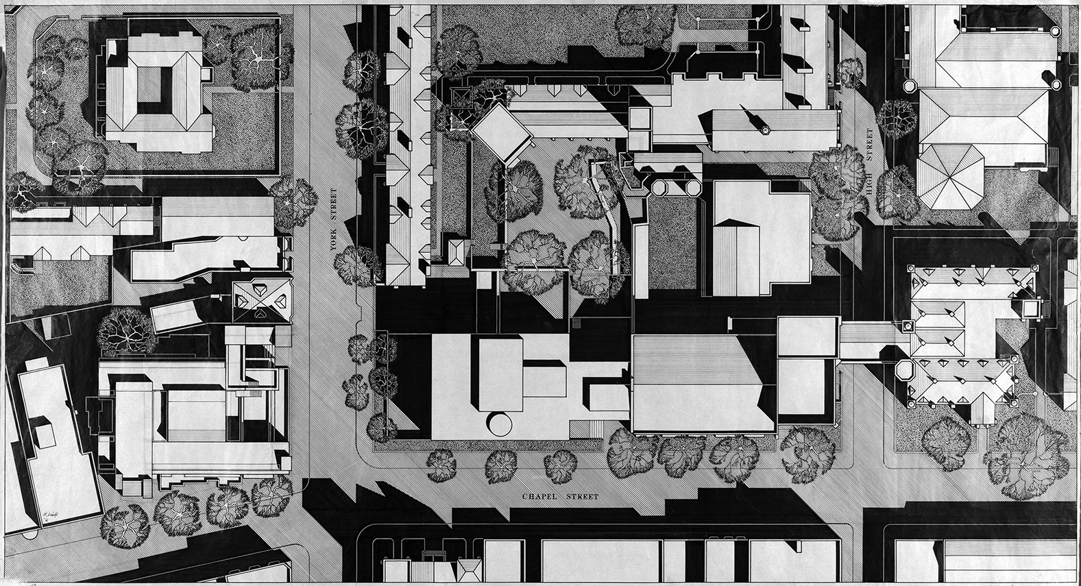 Art and Architecture Building, Yale University, New Haven, Connecticut. Site Plan Rendering. 1961.