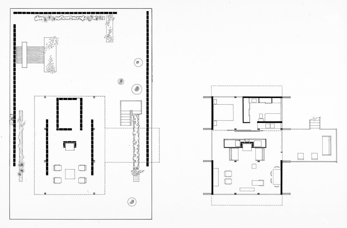 Hook guest house, Siesta Key, Florida. First and Second Floor Plans. 1952.