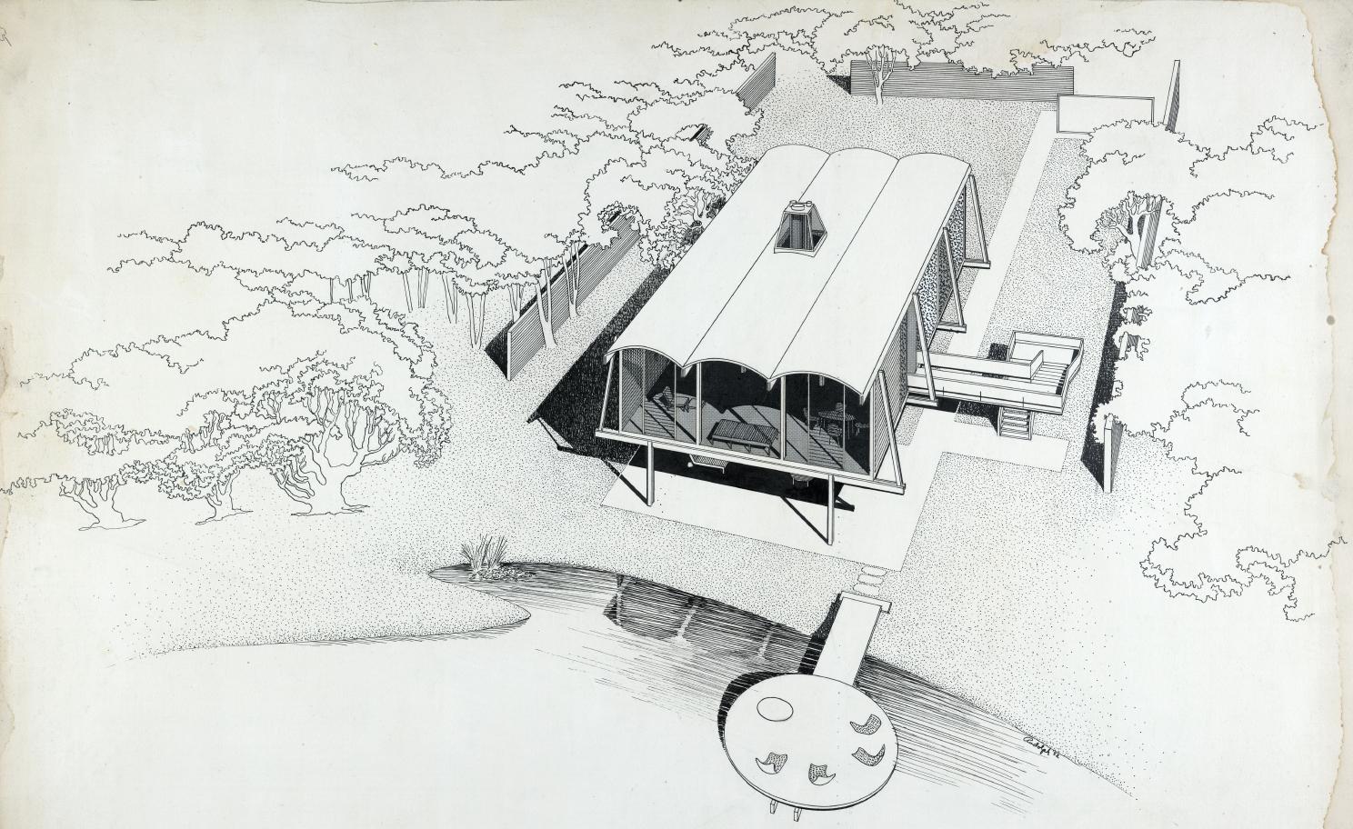 Hook guest house, Siesta Key, Florida. Bird's-eye View Perspective Rendering. 1952.