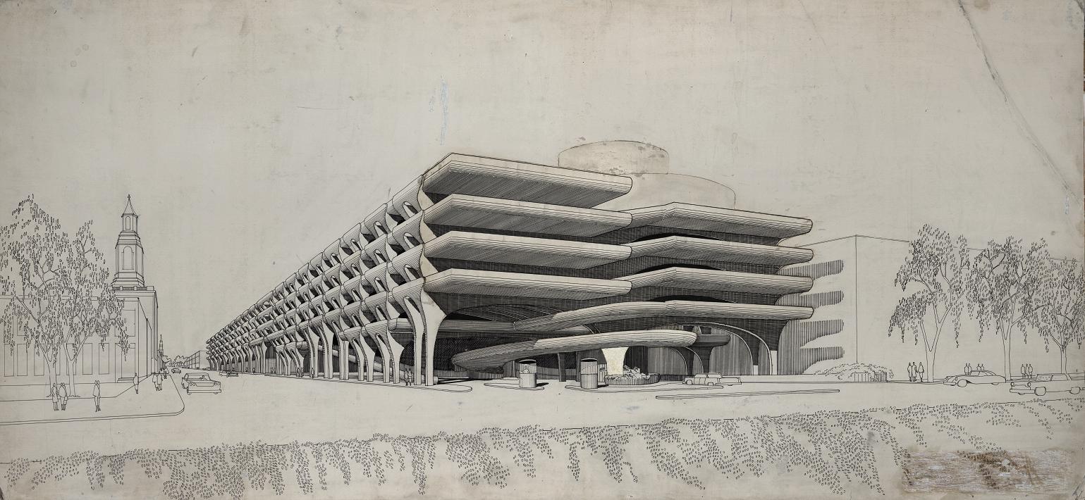 Parking garage, New Haven, Connecticut. Final scheme. Perspective Rendering.