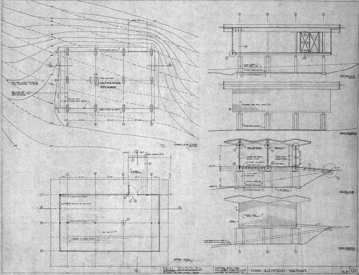 Fullam Residence, Newtown, Pennsylvania. Barn Plans, Elevations, Sections, Sheet A