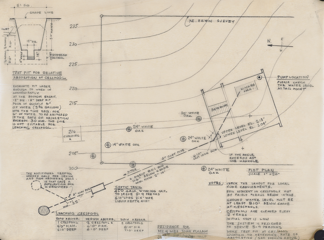 Fullam Residence, Newtown, Pennsylvania. Septic System Plan and  Plot Plan.
