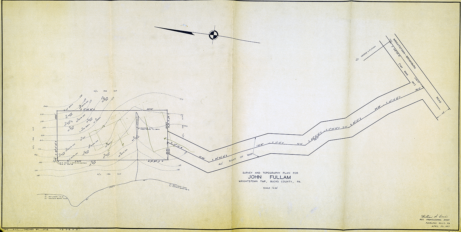 Fullam Residence, Newtown, Pennsylvania. Survey and Topography Plan by William S. Erwin.