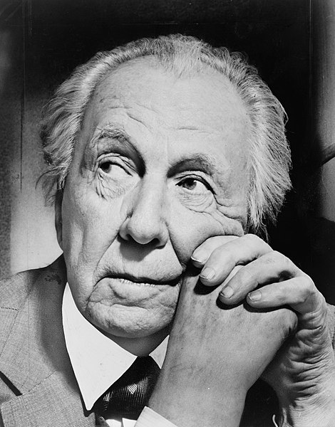 Frank Lloyd Wright in 1954, photographed when he was late 80's—but still going strong and working on new designs.  Photo by a staff photographer for the New York World-Telegram and Sun newspaper, courtesy of the Prints and Photographs division of the Library of Congress.