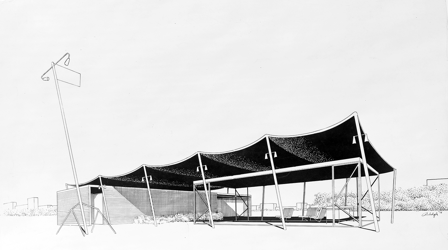 Beach Pavilion. Perspective Rendering. 1950.
