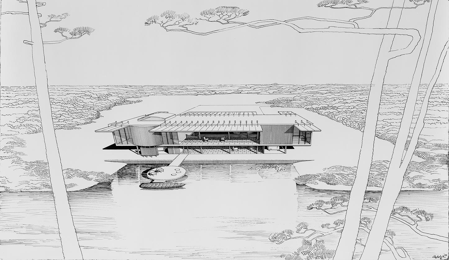 Cohen residence, Siesta Key, Florida. First Scheme. Bird's-eye View Perspective Rendering.