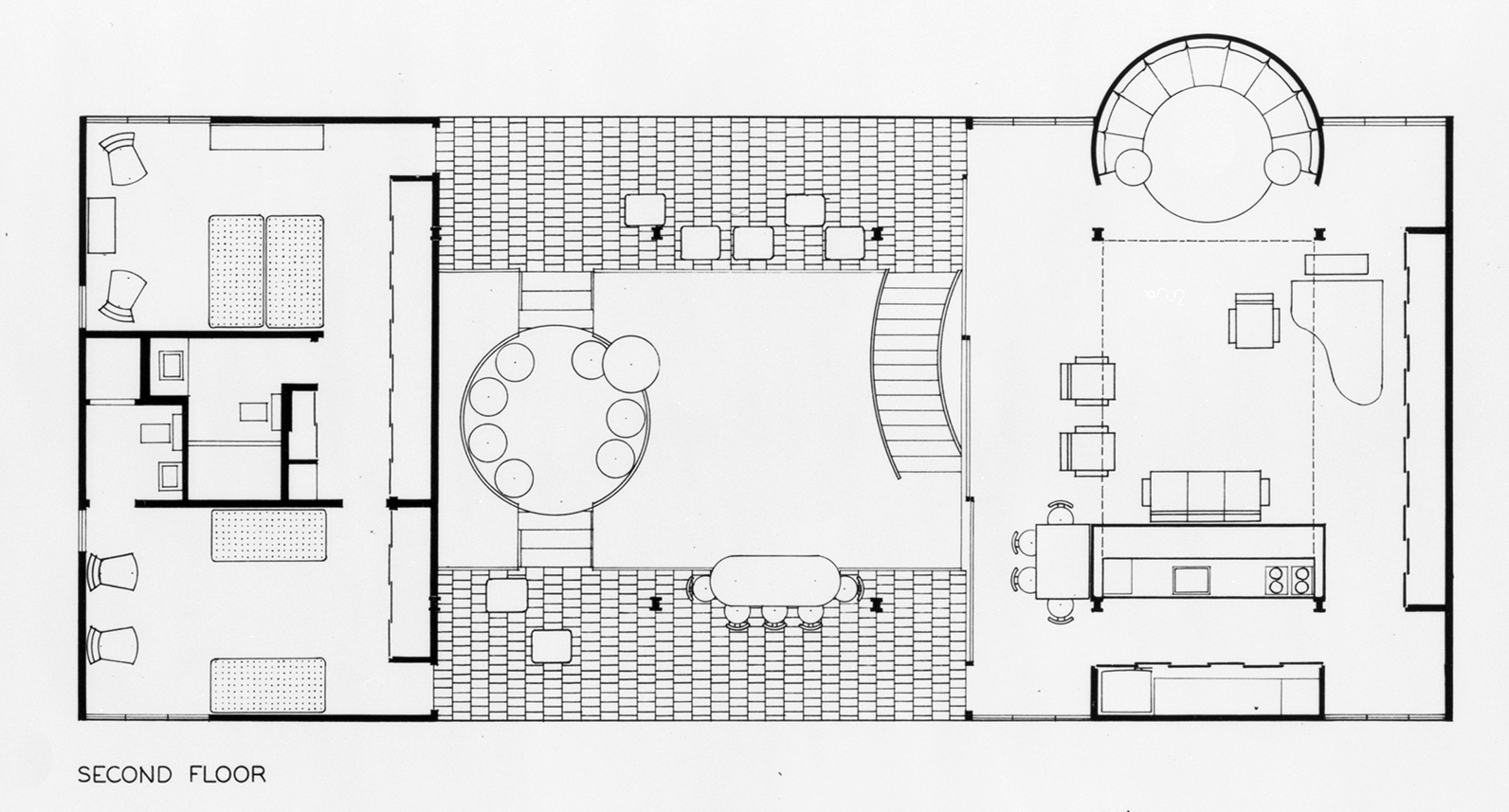 Cohen residence, Siesta Key, Florida. First Scheme. First Floor Plan.