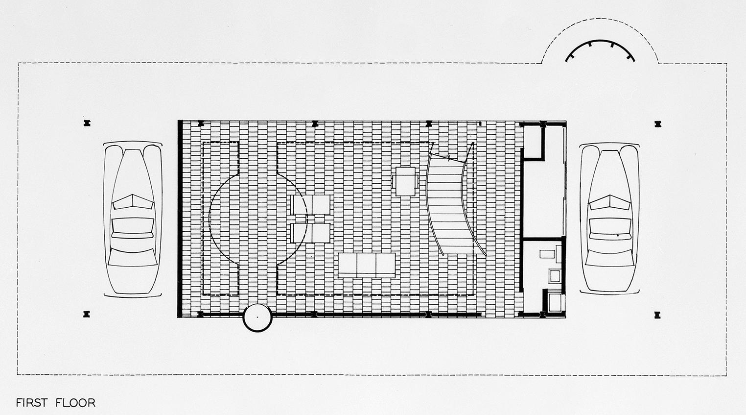 Cohen residence, Siesta Key, Florida. First Scheme. Second Floor Plan.