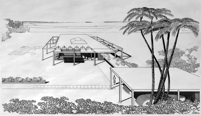 Cohen residence. Preliminary Scheme. Bird's-eye Perspective Rendering.