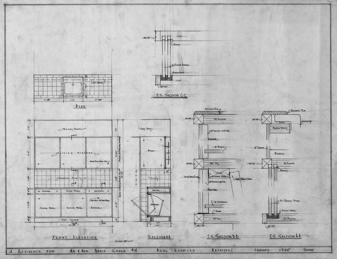 Cohen residence, Siesta Key, Florida. Cabinetry Plan, Elevation and Sections.