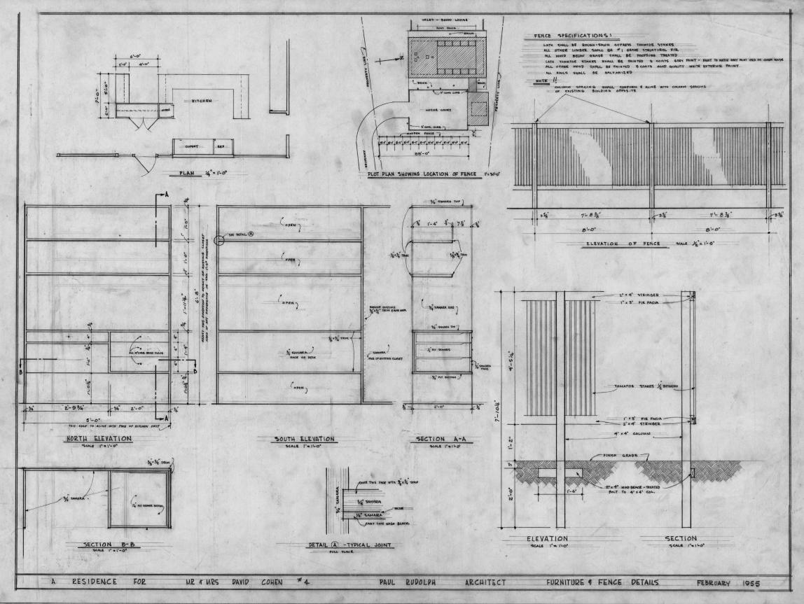 Cohen residence, Siesta Key, Florida. Furniture & Fence Details.
