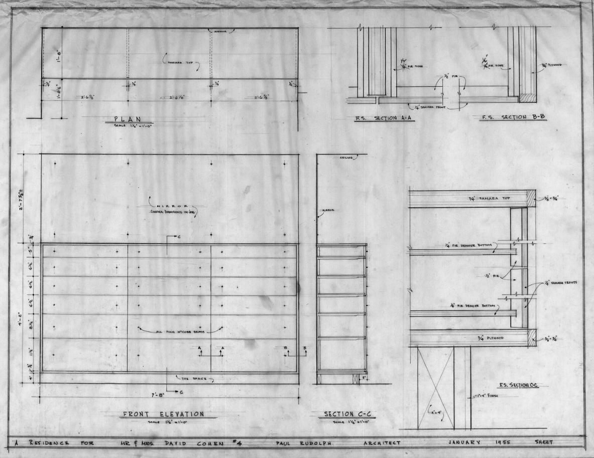 Cohen residence, Siesta Key, Florida. Cabinetry Plan, Section & Elevation.