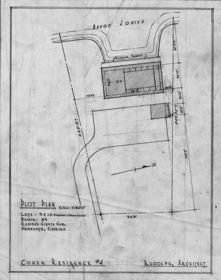 Cohen residence, Siesta Key, Florida. Plot Plan.