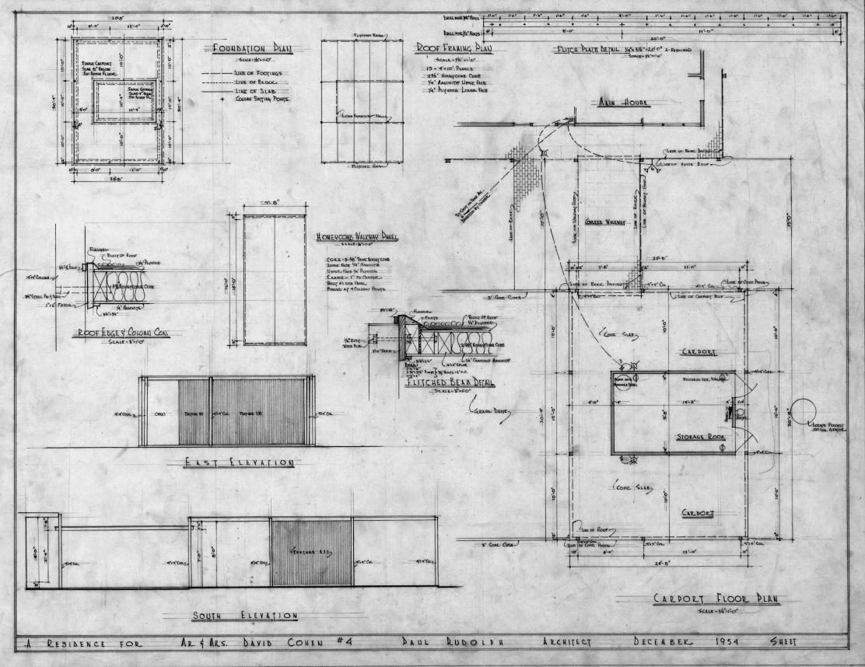 Cohen residence, Siesta Key, Florida. Carport Plans, Elevations & Details.