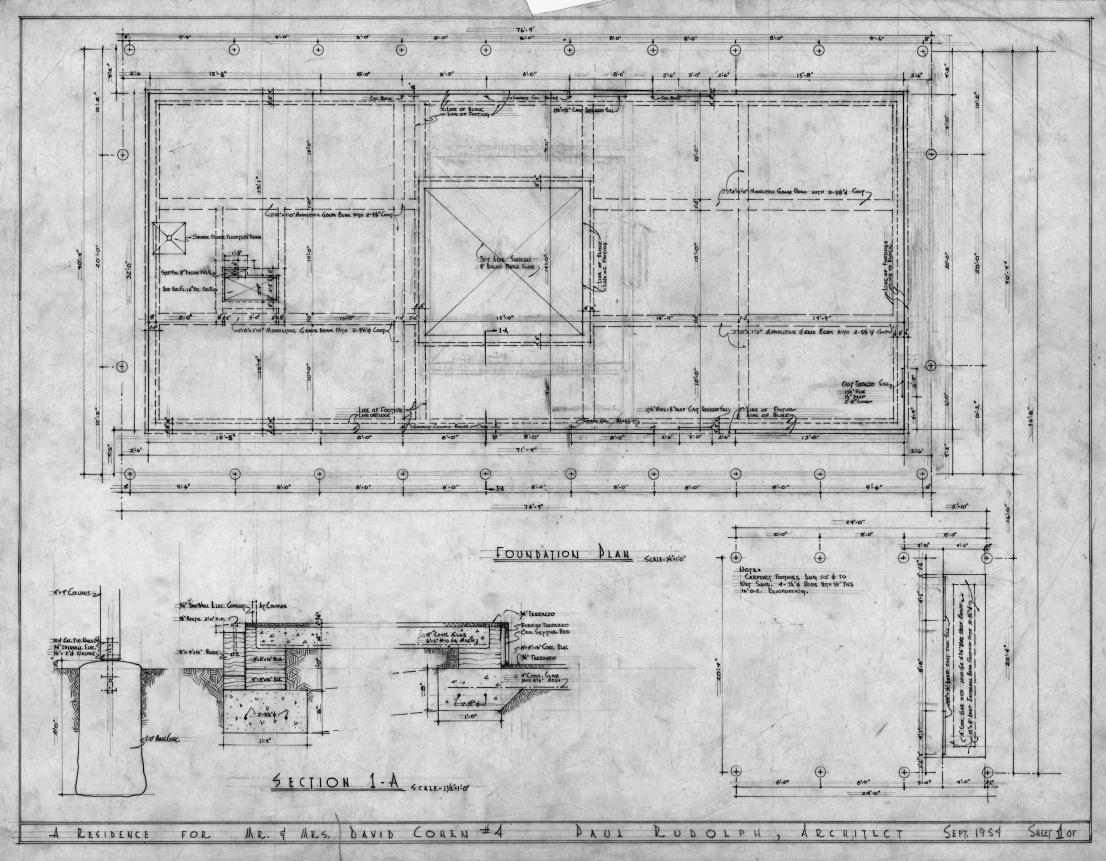 Cohen residence, Siesta Key, Florida. Foundation Plan & Sections.