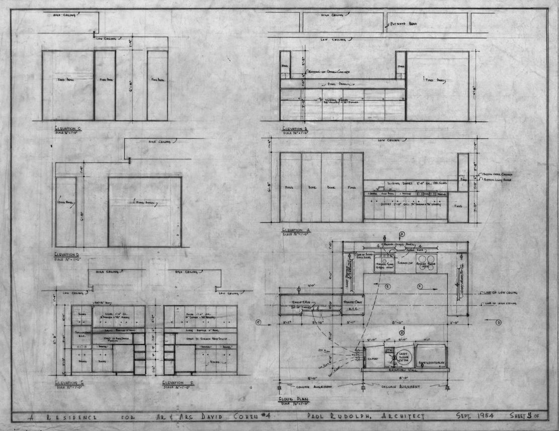 Cohen residence, Siesta Key, Florida. Kitchen Plan & Elevations.