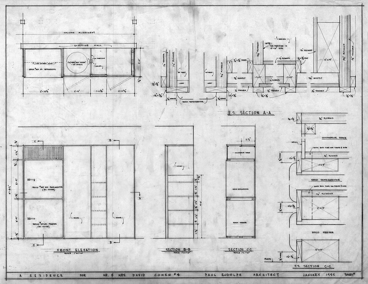 Cohen residence, Siesta Key, Florida. Kitchen Plan, Sections & Elevations.