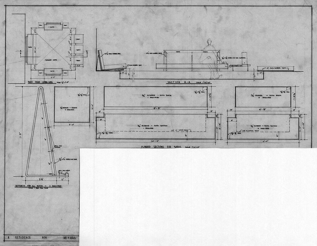 Cohen residence, Siesta Key, Florida. Seating Plan, Sections & Details.